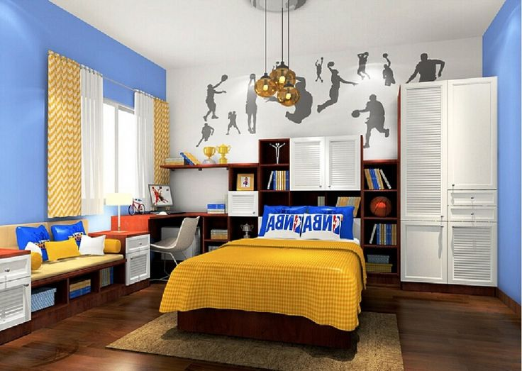 Basketball bedroom art design for boys bedroom decoration for Basketball bedroom ideas
