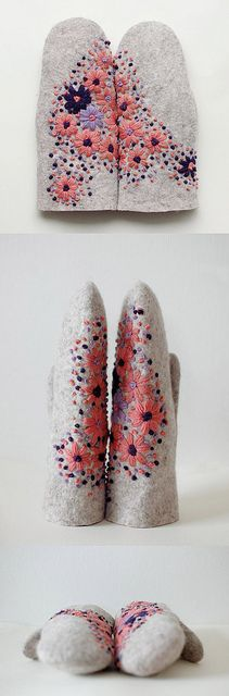 embroidered felted mittens