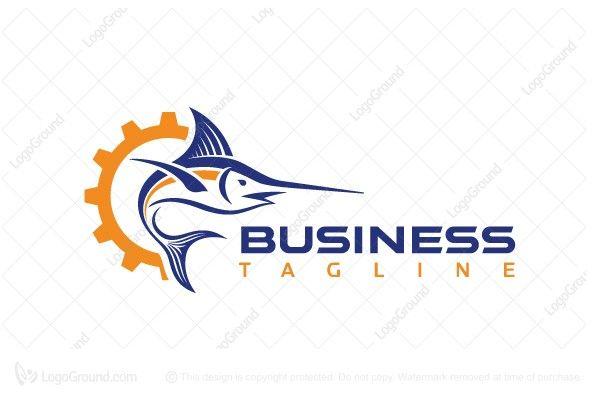 Logo for sale: Marlin Gear Logo Marlin and Gear logo to convey industrial. industry rental automotive lubricant marlin fish heavy-duty factory fishing gear equipment outfit kit logo logos