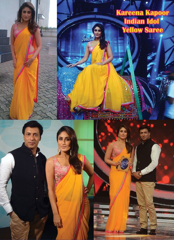 Kareena Kapoor Style Indian Idol Yellow Saree