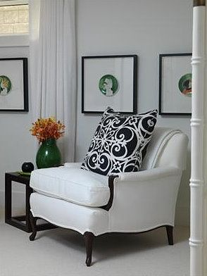 .Decor, Sarah Richardson, Guest Room, Frames Plates, Design Bedroom, Chairs, Black And White, Living Room, Sarah House