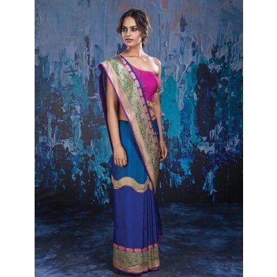 Blue and Green Banarasi Silk Saree with Weaving Work