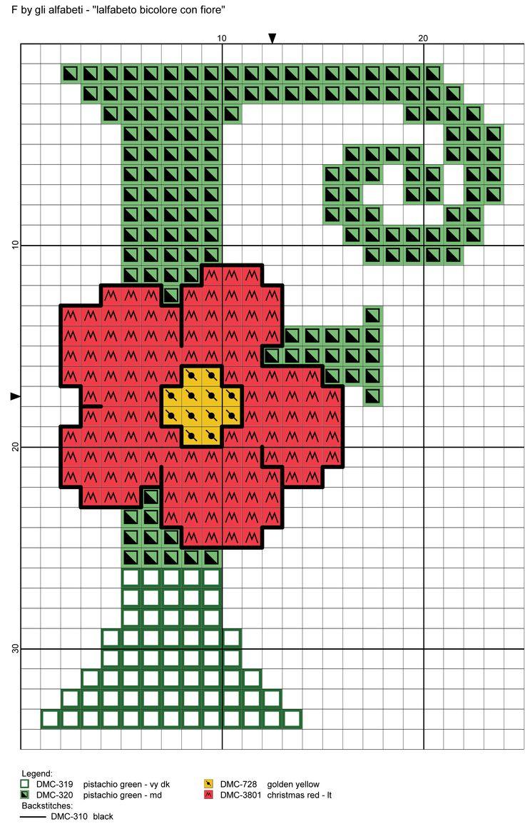alfabeto bicolore con fiore: F