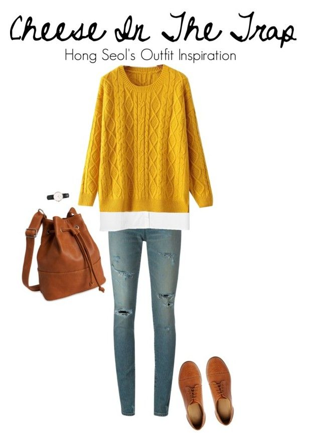 """Cheese In The Trap (Korean Drama) Outfit Inspiration"" by nomastu-dinar on Polyvore featuring Yves Saint Laurent, Monki, ASOS, Daniel Wellington, Aéropostale, women's clothing, women, female, woman and misses"