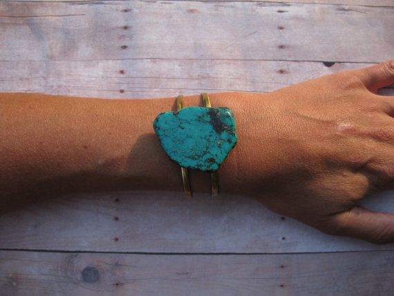 TURQUOISE SOLO – Turquoise Stone Cuff on raw brass adjustable double banded cuff Boho Urban Hippie – Blingstorming