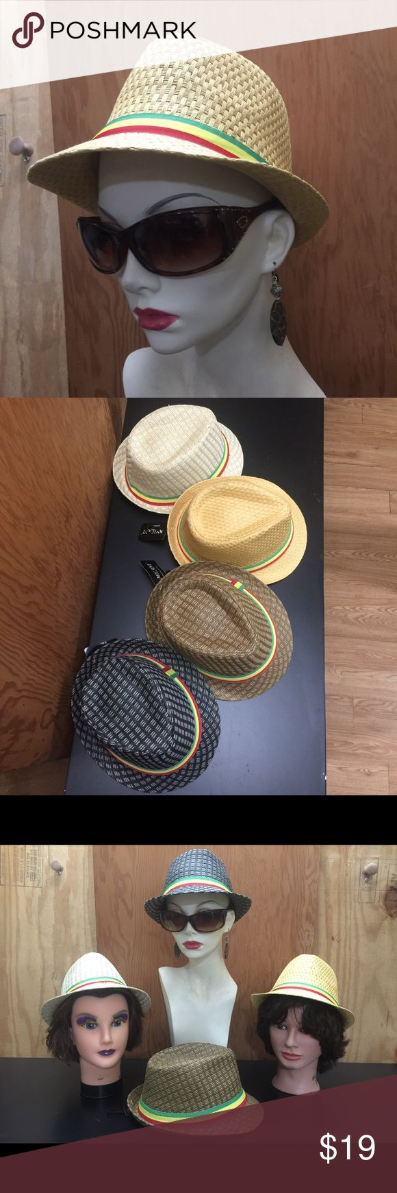 Rasta Fedora Hats (tan/khaki) Elegant unisex Rasta Fedora hat 🎩 light weight, and making a statement without a word. For them lazy, hazy days of summer. Designed in Italy 🇮🇹 Rasta style, two tone. 100% Straw Fedora. Check out other colors and sizes in my closet. Milani Accessories Hats
