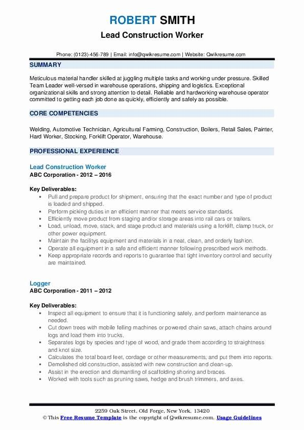 Material Handler Job Description Resume Unique Construction Worker