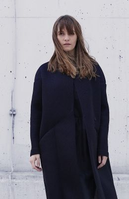Long black foam coat