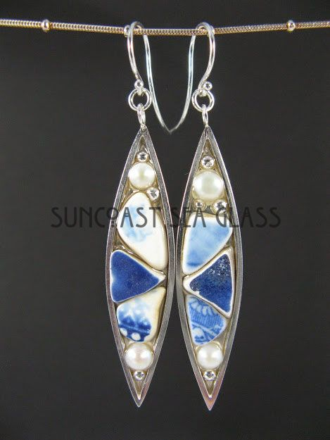 """Pottery ofthe Archipelago: Brilliant pottery shards, pearls, and sterling silver """"bubbles"""""""
