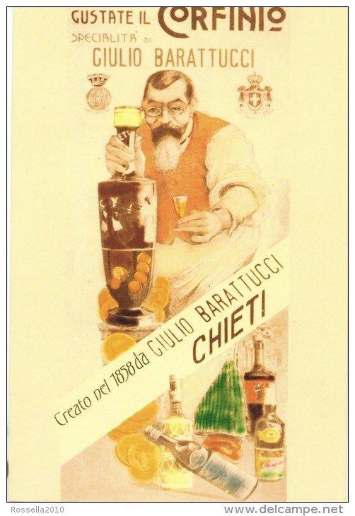 Vintage Italian Posters ~ #illustrator #Italian #posters #vintage ~ Liquor advertising postcard Corfinium - Company Emilio Barattucci Italy Abruzzo Chieti