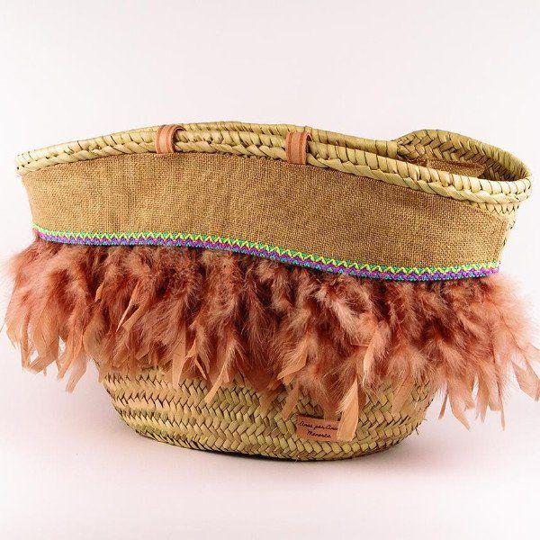 Capazo decorado a mano modelo Sira Camel – Cositas de España