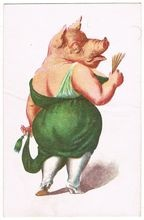 Pig. Vintage Postcard, probably for New Year