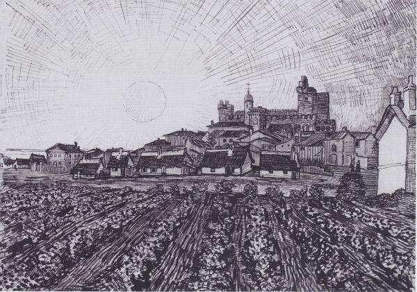 Vincent Willem van Gogh (1853 -1890) was een Nederlands kunstschilder. Zijn werk valt onder het postimpressionisme, een kunststroming die het negentiende-eeuwse impressionisme opvolgde. Van Goghs invloed op het expressionisme, het fauvisme en de vroege abstractie was enorm en kan worden gezien in vele andere aspecten van de twintigste-eeuwse kunst.  Gezicht op Les-Saintes-Maries-de-la-Mer (1888)