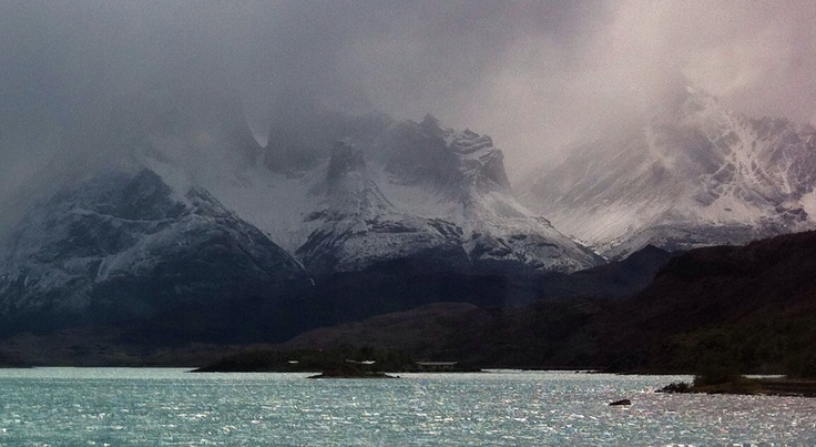 Torres del Paine in a snowstorm