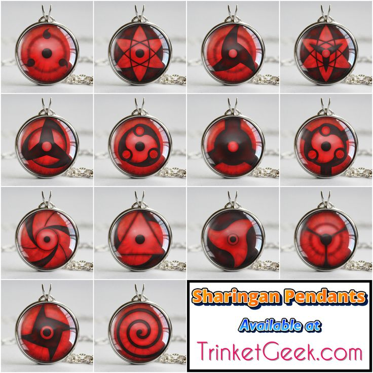 "trinketgeek: "" Here's a post with all of the Sharingan Variations, including the two final pendants added today; Sasuke's Eternal Mangekyou Sharingan and Madara's Eternal Mangekyou Sharingan. That's every version of the sharingan that's appeared yet..."