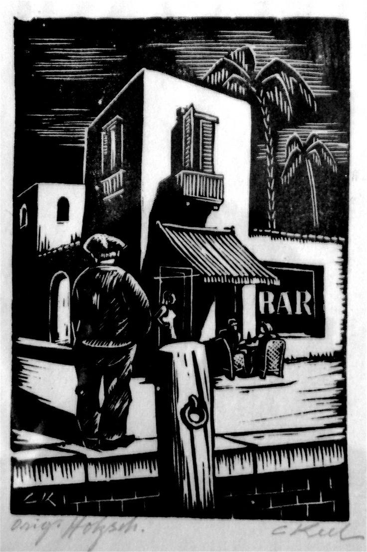 Bar, lino cut,  Carl Eugen Keel