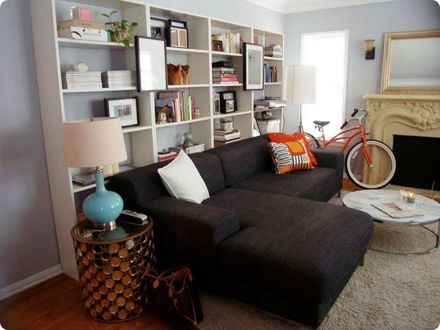 bookcases behind sofa