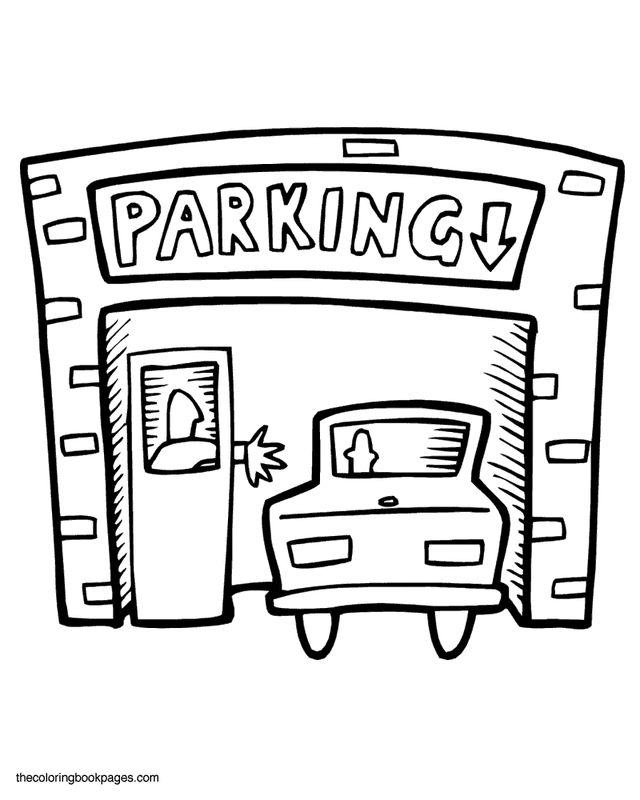 car garage coloring pages | Parking Garage Coloring Page | Coloring pages, Pattern ...