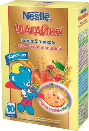 Nestlé Шагайка молочная 5 злаков с клубникой и вишней (с 10 месяцев) 200 г  — 196р.  Каша молочная Nestle Шагайка 5 злаков с клубникой и вишней с 10 мес. 200 г. Каша приготовлена с использованием особой технологии бережного расщепления злаков СНЕ. Благодаря этому в продукте появляется естественный сладкий вкус, каша лучше усваивается и имеет повышенную пищевую ценность. Каша является сбалансированным продуктом прикорма для здоровых детей, обогащена витаминами и микроэлементами, содержит…