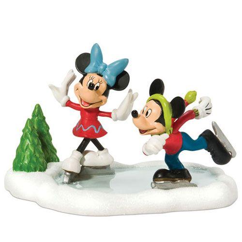Christmas Ice Skating Rink Decoration: Mickey And Minnie Skating