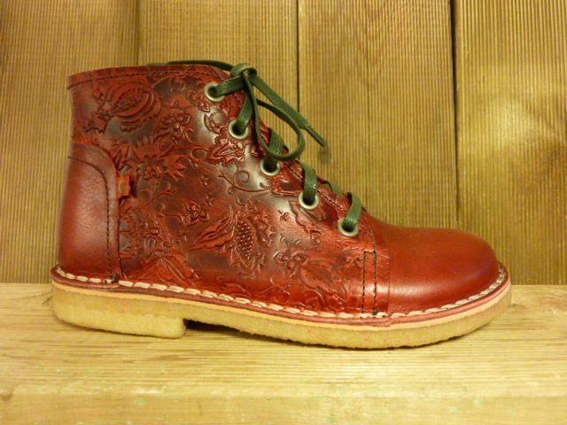 Grünbein Schuhe Schnürschuhe rot auch für Einlagen Lederschuhe Ranken Kreppsohle