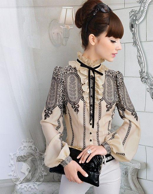 2015 hot moda feminina vintage print tribunal rendas mangas compridas blusa de…