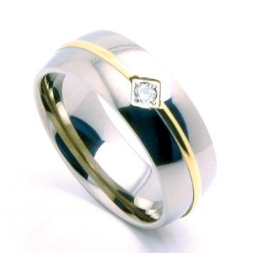 Goldsmith Perfect Gold IP Titanium Unisex Band Cubic Zirconia Sizes 6mm (sizes 5-8)-8mm (sizes 9-13) Special Pricing Free Shipping