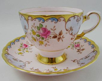 Vintage Tuscan Pink Tea Cup and Saucer with Pink Roses and Gold Trim, Fine English Bone China