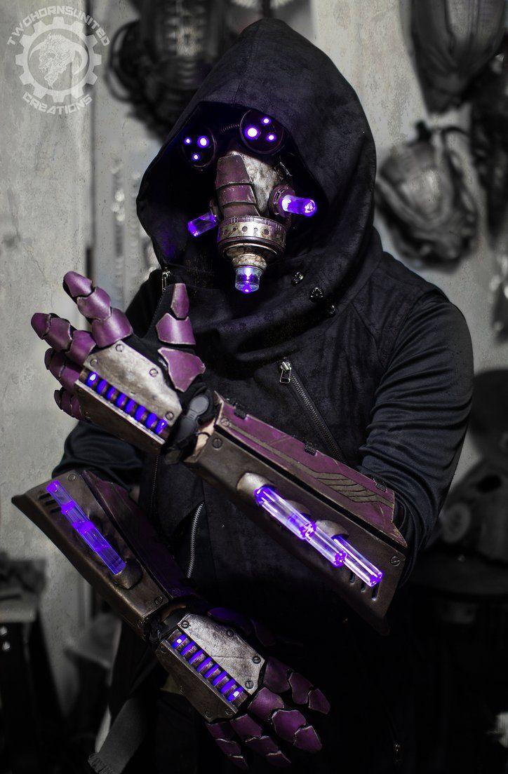 The summoner - light up cyberpunk gauntlets + mask by TwoHornsUnited on DeviantArt