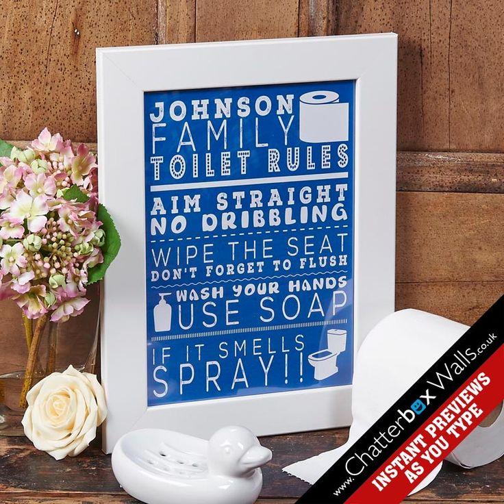 Personalised Family Bathroom Rules word art print
