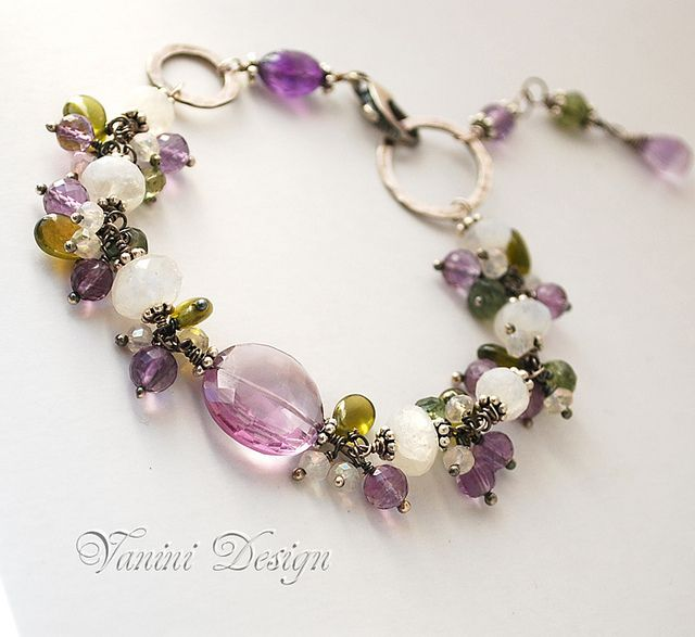 Spring tranquility-Fine/Sterling silver,rainbow moonstone,Amethyst,Vesonite,green apatite bracelet by VaniniDesign, via Flickr
