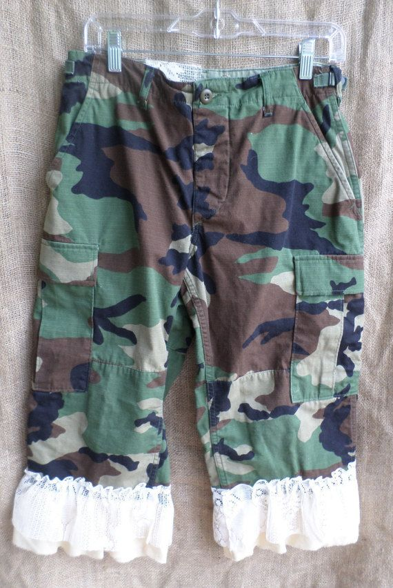 Ruffles and Lace Camo Capri Pants by Pistolpearlsboutique on Etsy