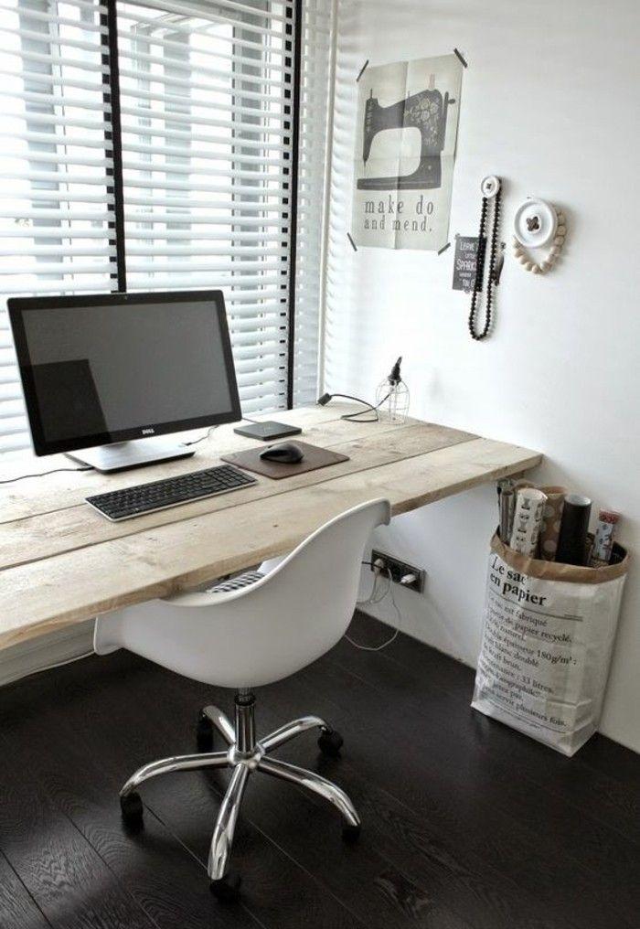 meuble ordi grand fenetre ordinateur chaise blanche