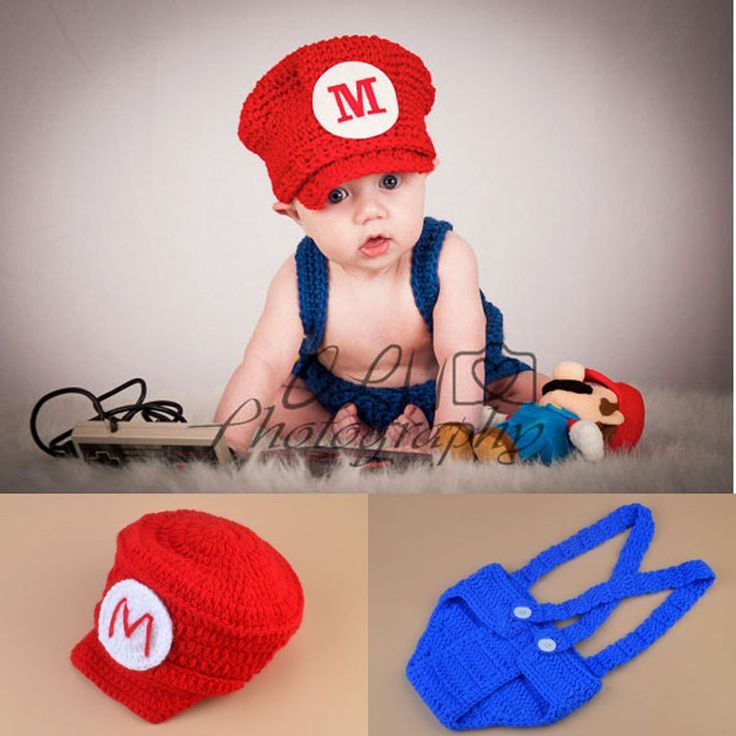 Nowy Najlepsza Sprzedaż Super Mario Projekt Newborn Fotografia Rekwizyty Ręcznie Na Szydełku Dziecko Kapelusz i Spodenki Ustawić Niemowląt Kostiumy Outfit H252
