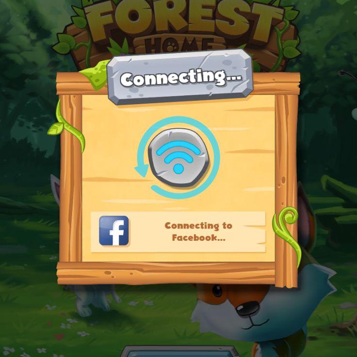 Forest Home | Facebook Connecting| UI, HUD, User Interface, Game Art, GUI, iOS, Apps, Games, Grahic Desgin, Puzzle Game, Maze Games, Brain Games | www.girlvsgui.com