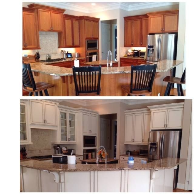 Glazing White Cabinets With Stain: Before And After Photo Of Bark Cherry Stained Cabinets