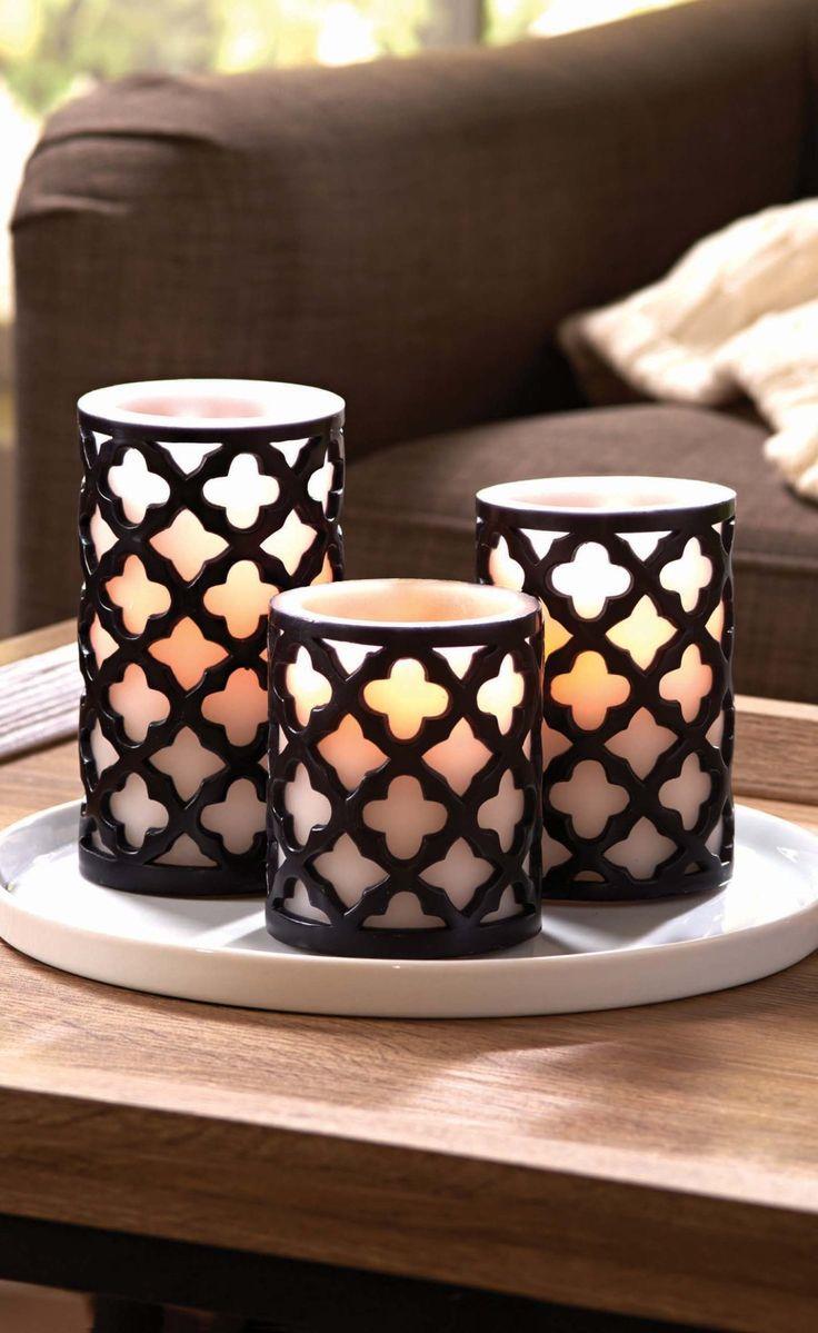 Better homes and gardens flameless led pillar candles 3 pack trellis Better homes and gardens diffuser