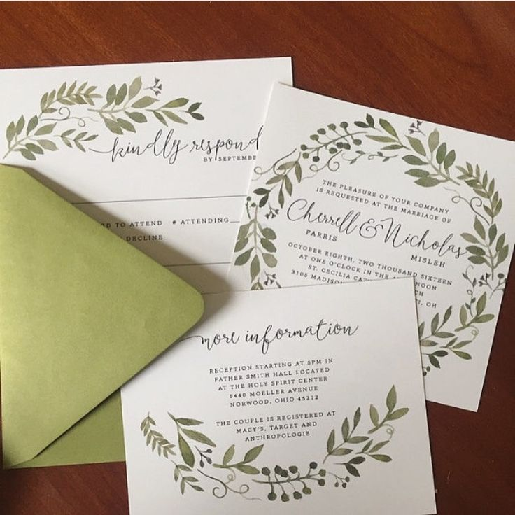Garden Foliage Wedding Invitation Suite DIY