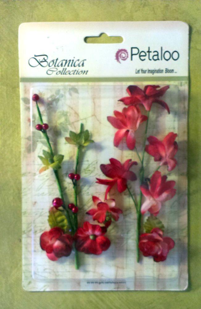 Petaloo Red Botanica Flowers & Vines Embellishments - bendable wire stems