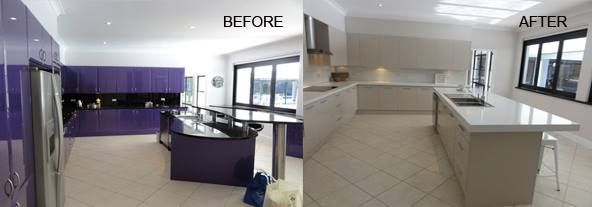 Granite Transformations Products Featured - Trend Surfaces benchtop in Bianco Real. Kitchen Splashback in Trend Surfaces Ghiaccio tiles