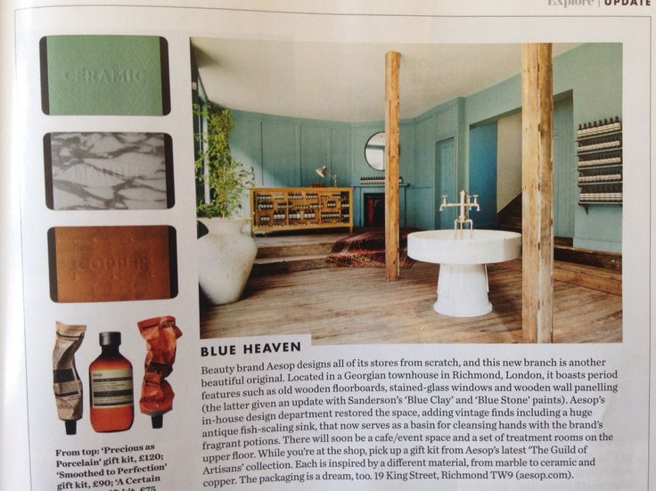 Article in Elle Deco of Richmond Aesop store featuring Finch London furniture