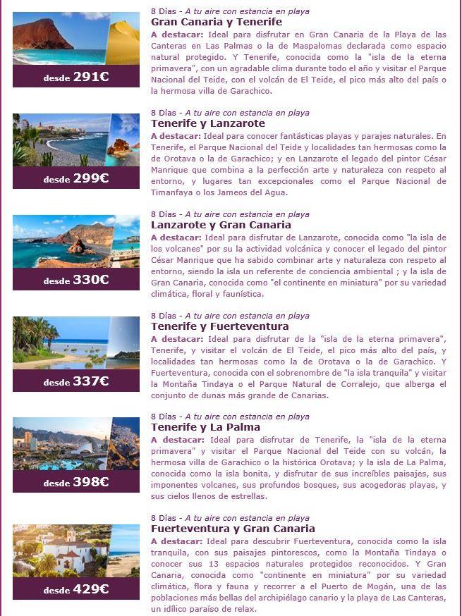 Queremos ofrecerte los mejores combinados para visitar las Islas Canarias ya que está demostrado que el clima tiene un impacto directo en nuestras emociones; respirar aire puro, pisar la arena, sentir los rayos del sol o contemplar un cielo lleno de estrellas, son momentos que nos llenan de vitalidad. Más en www.formigatours.com