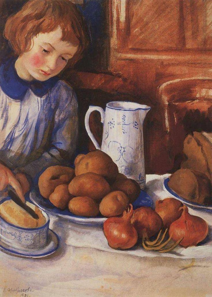 Зинаида Серебрякова. Катя у кухонного стола. 1923