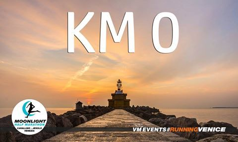 KM 0! The start of the #MoonlightHalfMarathon! The race that starts at sunset time, from the sea in Cavallino, to the sandbanks in Treporti and to the lights in Jesolo by night! Come with us #RunningVenice #VMevents  KM zero! La partenza della #MoonlightHalfMarathon la mezza maratona con partenza al calare del sole! Dal mare di Cavallino, alle barene della laguna di Treporti alle luci di Jesolo by night! Vieni con noi #RunningHolidays