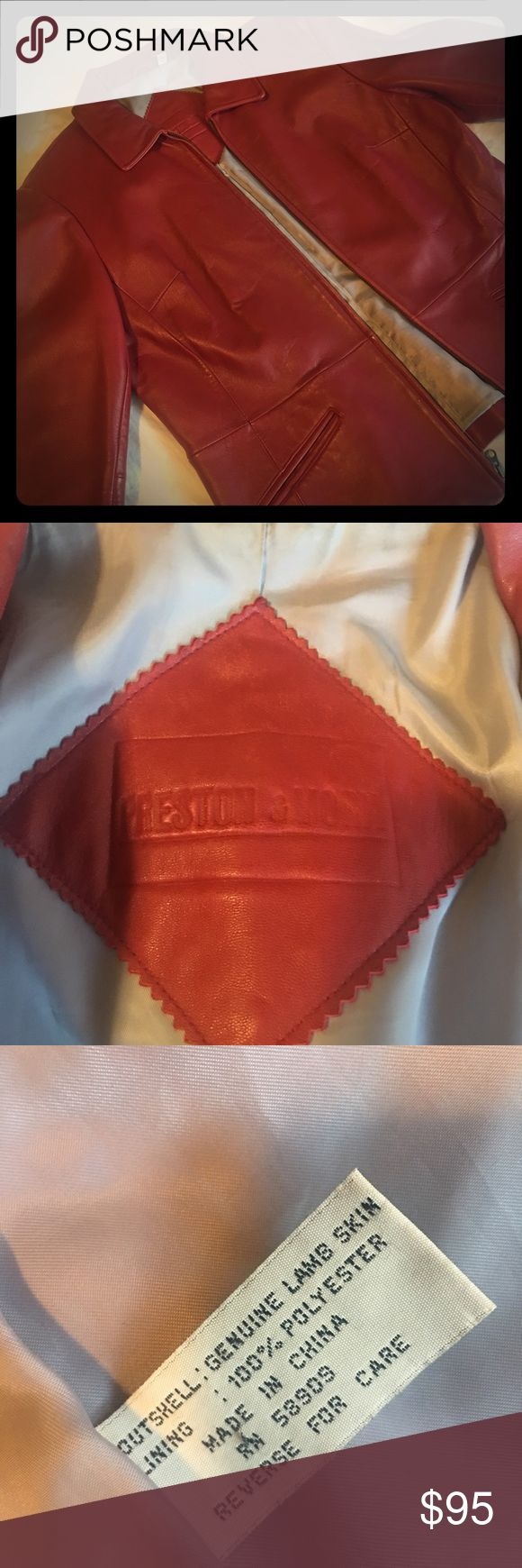 Vintage red lambskin jacket Omg soft and been in the closet for a very long time.  Worn twice only and now I don't fit it. Red lamb skin like leather. 100% authentic. Woman's fit Preston & York Jackets & Coats Blazers