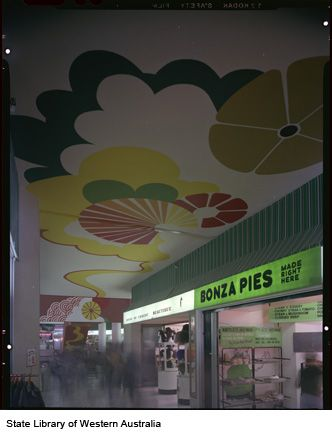 222025PD: Inside City Arcade, 1976. Bonza Pies and House of Ernest Boutique