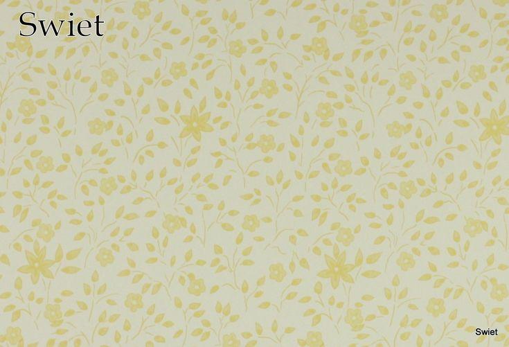 Geel wit bloemetjes behang | Swiet
