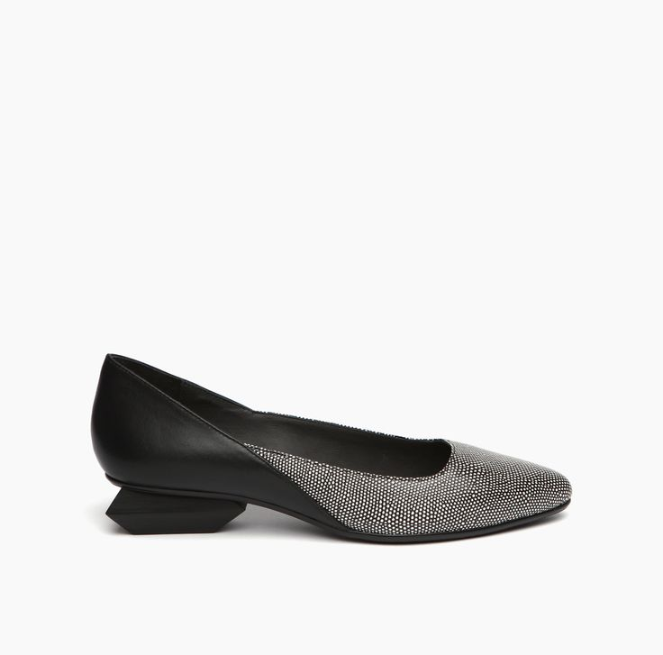 Jacky Ballet Black White Mix + Black Embossed Stingray Leather + Nappa -