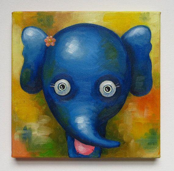 Elephant Portrait, Original Art, Animals, Oil on canvas, MikiMayo