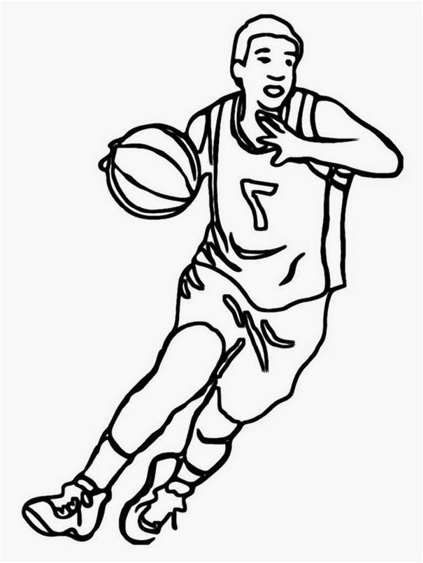 Coloring Page Basketball Printable Basketball Drawings Coloring Pages Sport Poster Design